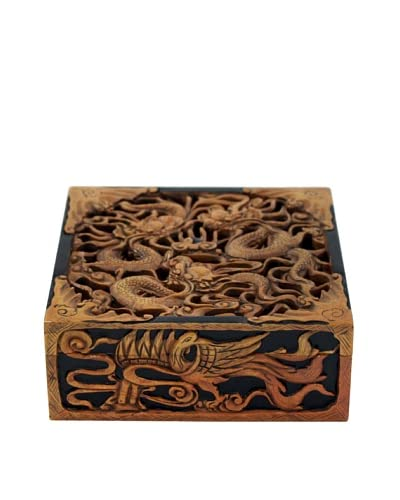 Ciel Hand-carved Soapstone Dragon Box, Black As You See