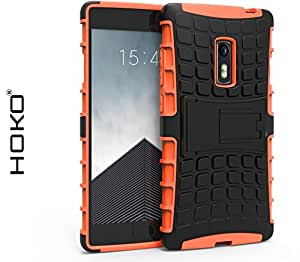 OnePlus 2 Case, OnePlus 2 Case, HOKO® Defender Series Dual Layer Hybrid TPU + PC Kickstand Case Cover for OnePlus 2 (Orange)