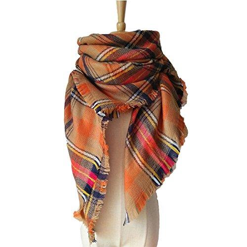 VINNEL® Tartan Fashion Scarfs for Women Lovely Best Gift Scarf Wrap Shawl (Orange)