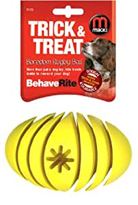 Mikki Interactive Behaverite Boredom Rugby Ball In-built Treat Cavities for Dogs