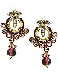 Surat Diamonds Trendy Purple & White Stones & Gold Plated Chandbali Earrings For Women (PSE60)
