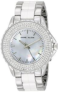 Anne Klein Women's AK/1627WTSV Swarovski Crystal Accented Silver-Tone and White Ceramic Bracelet Watch