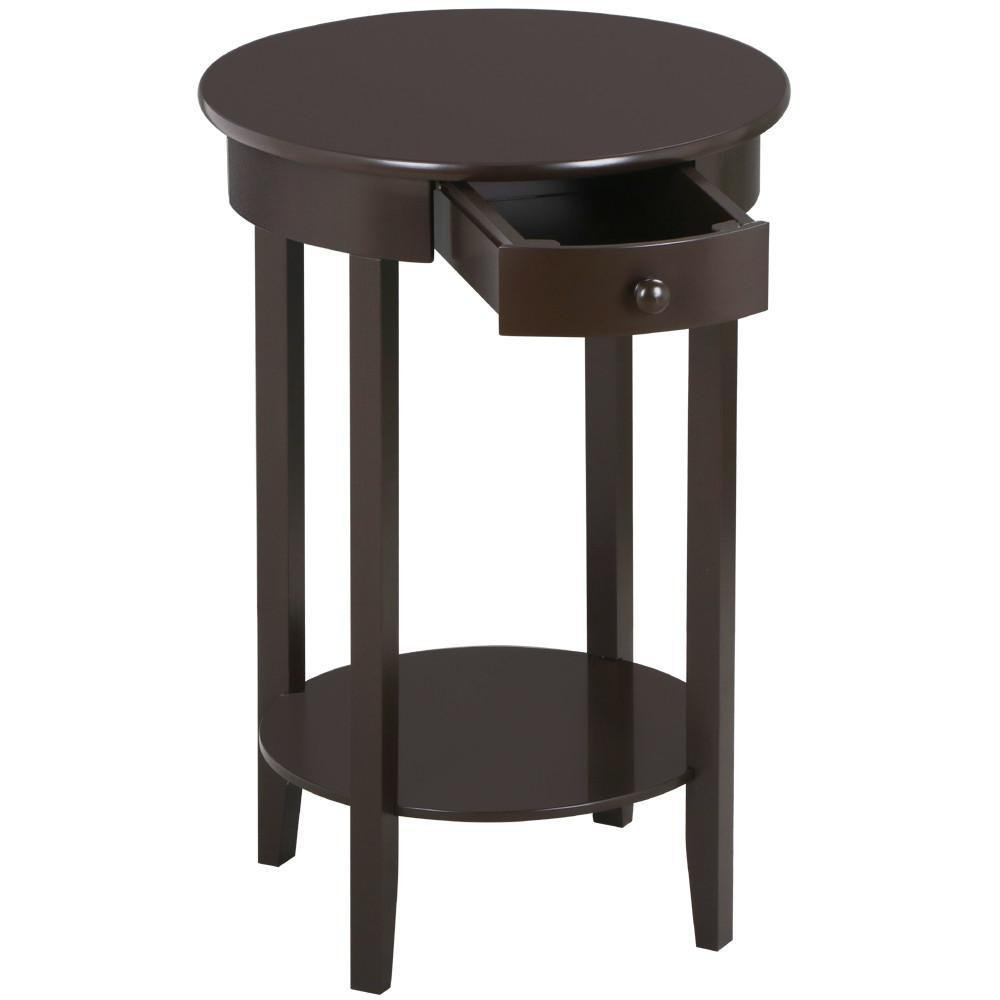 Yaheetech Round Sofa Side End Table With Drawer Wood
