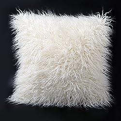 FURTALK 18-Inch Mongolian Faux Fur Pillow, Natural (One Pillow Case)