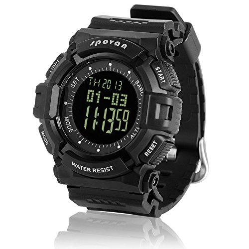 Generic Unique Design Multifunctional Outdoor Hiking Waterproof Watch With Altimeter,Barometer,Barogram,Stopwatch,Countdown,World Time,Alarm Black Dial