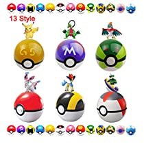 Moonideal Pokemon 13 Different style Pokeball + 13 Different style Pokemon Figures