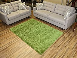 Shaggy Collection Solid Color Shag Area Rugs (Green, 5\'x7\') (4135)