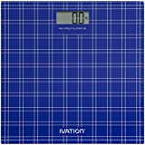 Ivation Ultra Thin LCD Tempered Glass Digital Bathroom & Gym Scale - Super Accurate HighPrecision Strain Gauge Sensor System - 330-Pound Load Capacity, Blue