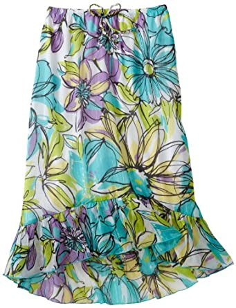 My Michelle Big Girls' Floral Print Maxi Skirt, Turquoise, Small