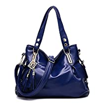 Desklets Women's Leisure Tassels Shoulder Bags Top Handle Handbag(Navy)