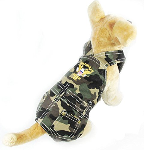 Pet Cat Dog Clothes Army Green Camouflage Overalls Jumpsuit Pants Cat Small Boy Dog Clothes L