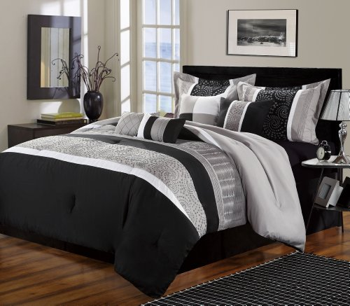 Chic Home 8-Piece Euphoria Embroidered Comforter Set, Queen, Black/White back-5958