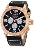 """Invicta Mens 1429 """"II Collection"""" 18k Rose Gold-Plated Stainless Steel and Black Leather Watch"""