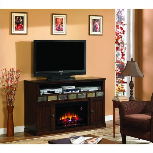 Margate Media Mantel In Caramel Oak With Real Slate Inlay 26Mm1754-O128 Mantel Only