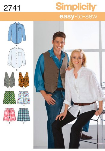 Simplicity Sewing Pattern 2741 Miss/Men Shirt,