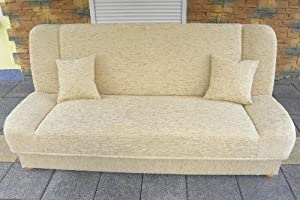 Cream Sofa   Beige Futon   Brown Sofa Bed Maddy with bedding place click clack mechanism. Any colors. Wersalka       Customer review and more news
