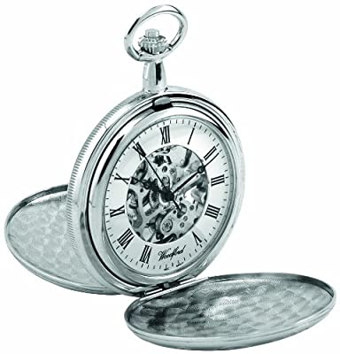 Woodford Pocket Watch 1062 Chrome Plated Mechanical Twin Lid