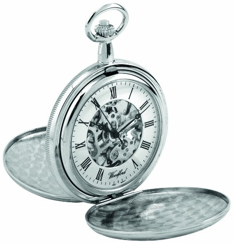 Woodford Men's Skeleton Full-Hunter Pocket Watch with Chrome-Finished Twin-Lids and Chain 1062
