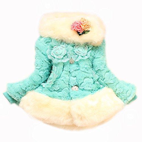 Girls Kids Baby Toddler Fur Hairy Flowers Birthday Party Coat Jacket Snowsuit (14#6-7Years, Blue)