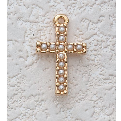 Communion Gold Cross with Pearls Necklace 16