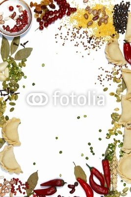 Background Made of Food Ingridients, Pelmeni, Groats and Spices - 52