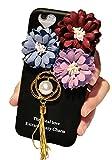 (ポルトプエルト) Porto Puerto iPhone7 iPhone6 Plus ケース カバー 花 パール 雪の結晶 葉っぱ リーフ デコ タッセル シリコン ブラック ハート ストラップ アイフォン ( iPhone 6/6 Plus/6s/6s Plus ) (iPhone 7, パール)