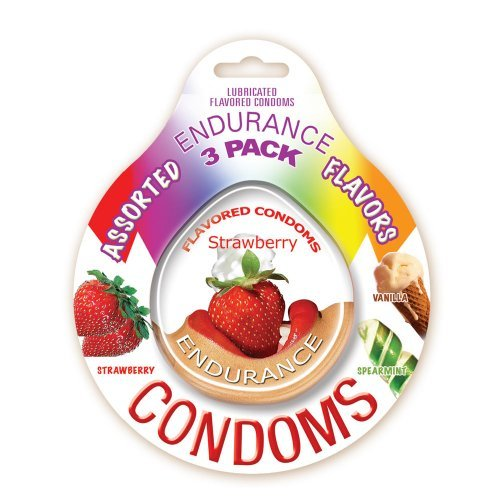 Hott Products Endurance Condoms, Assorted Flavors, 3-Pack by Hott Products