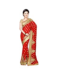 Fancy Charismatic Maroon Colored Embroidered Faux Georgette Saree By Triveni