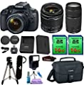 Canon EOS Rebel T5 DSLR Camera & 18-55mm IS Lens & 75-300mm III Lens. PagingZone Kit Includes, 2 Pcs - 16GB Class 10 Memory Card + Canon Bag + Flash + Tripod + UV Filter + Card Reader + Cleaning Kit