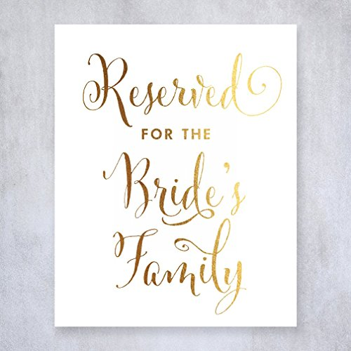 Reserved for Bride's Family Gold Foil Small Sign Wedding Reception Signage 5 inches x 7 inches E12