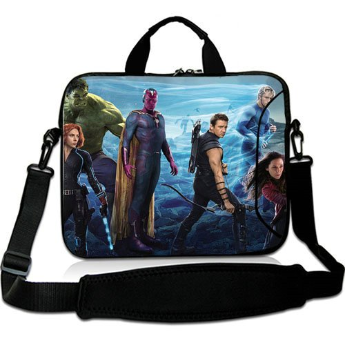 Custom 10 Inch Adjust Shoulder Laptop Carrying Bag With Avengers Avengers Age Of Ultron Thor Captain America Black Widow Hulk Hawkeye Neoprene Laptop Sleeve for 10 10.1 Inch Laptop Bag(Twin Sides)