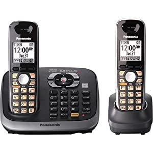 Panasonic KX-TG6542B DECT 6.0 PLUS Expandable Digital Cordless Answering System with 2 Handsets
