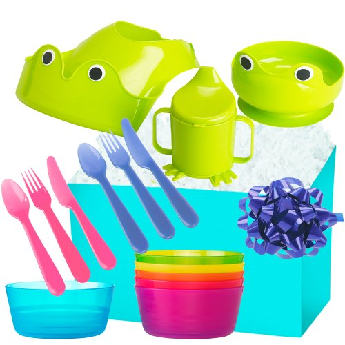 Little Sprouts, Baby Feeding Gift Set - 14 Piece, Blue or Pink, Choice of Boy or Girl (Girl)