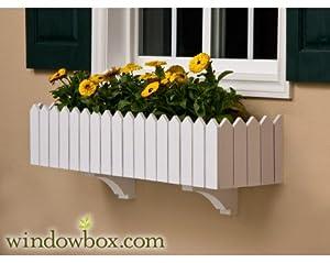 48 Inch Picket Fence No Rot PVC Composite Flower Window Box w/ 2 Decorative Brackets