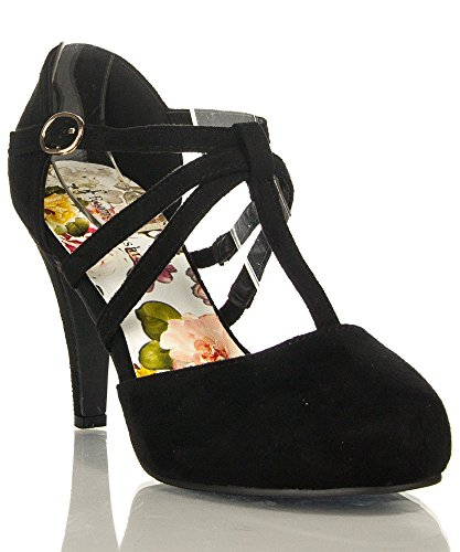 ROF Coco-01 Women's Vegan D'orsay Mary Jane T-strap Mid Heel Dress Platform Pumps Shoes BLACK SUEDE (9)