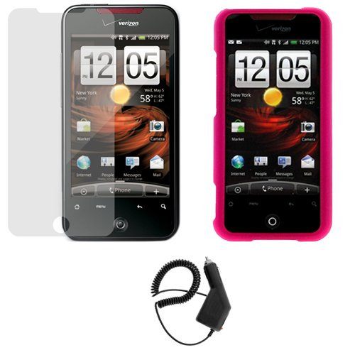 GTMax 3 Pieces Combo - Hot Pink Rubberized Hard Cover Case + LCD Screen Protector + Car Charger For HTC Droid Incredible Cell Phone