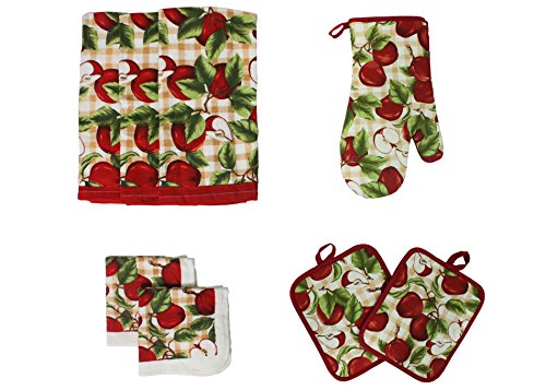 8 Piece Printed Kitchen Towel Set, Red Apples
