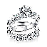 [ブリング・ジュエリー] Bling Jewelry スターリングシルバーラウンドバゲットCZ契約結婚指輪セット [インポート]