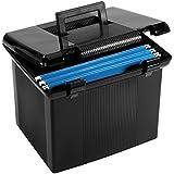 """Oxford Portfile Large Portable File Box, Black, 11""""H x 14"""" W x 11-1/8"""" D (41742)"""