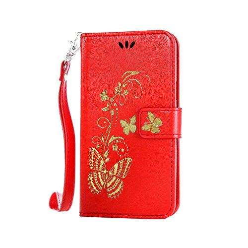 Cozy Hut ® Samsung Galaxy S3 Cuir Coque Bronzante Papillon Fleur,Papillon d'or floral motif Case Etui Protection Coque Cover PU Cuir Flip Housse