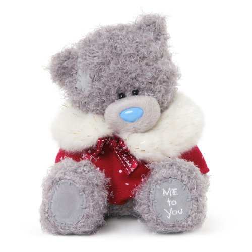 Me to You 6-inch Tatty Teddy Bear Wearing Cute Christmas Cape Sits (Grey)