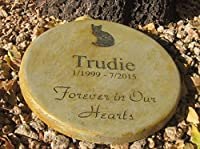 "Personalized Pet Memorial Step Stone 11""Diameter"" Forever in Our Hearts"