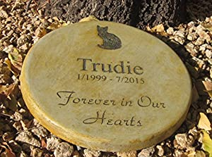 """Personalized Pet Memorial Step Stone 11""""Diameter"""" Forever in Our Hearts"""