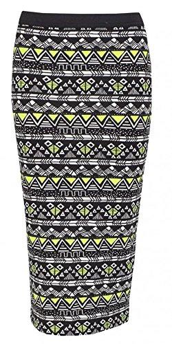 Womens Lime Fluro Aztec Midi Skirt Ladies (6 - Lime)