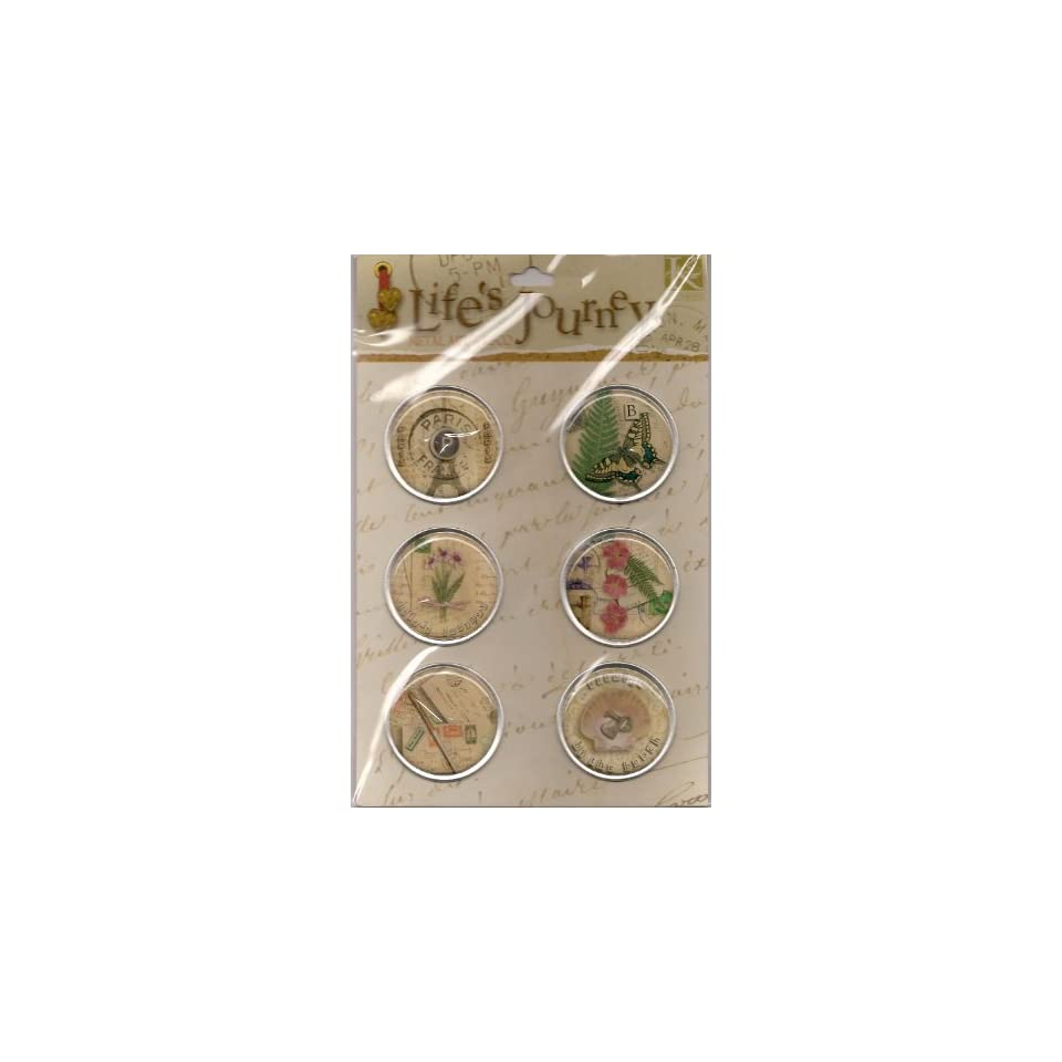 Lifes Journey Metal Art Round Collage Buttons