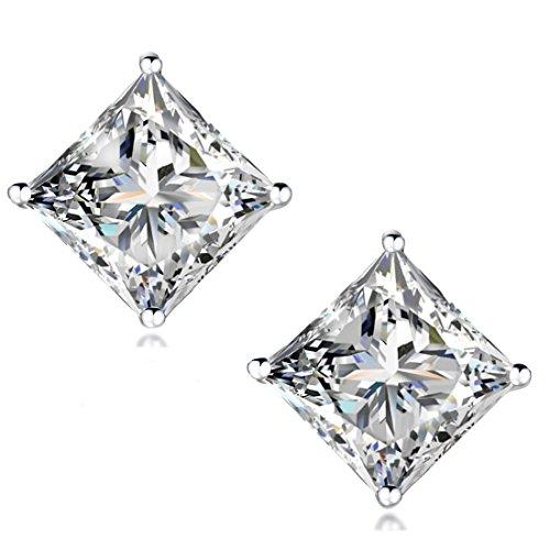 STUNNING-FLAME-18K-Gold-Plated-Silver-Princess-Cut-Simulated-Diamond-CZ-Stud-Earrings