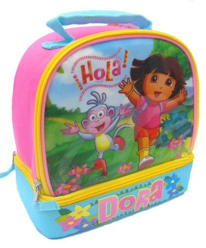 Dora the Explorer and Boots Girls Pink & Blue Dome School Lunchbox