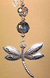 Large Silvery Metal Dragonfly and Faceted Pale Purple-Blue Glass Ceiling Fan Pull / Light Pull