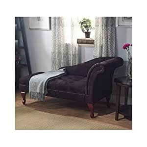 Black storage chaise lounge sofa chair couch - Amazon bedroom chairs and stools ...