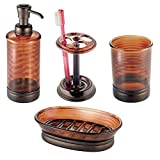 mDesign Bath Accessories Set, 4 Piece Plastic, Tortoise Shell Brown